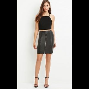 Leather (faux) skirt with zip front